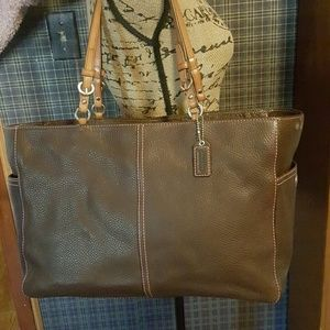 Brown Leather Coach Diaper Bag!